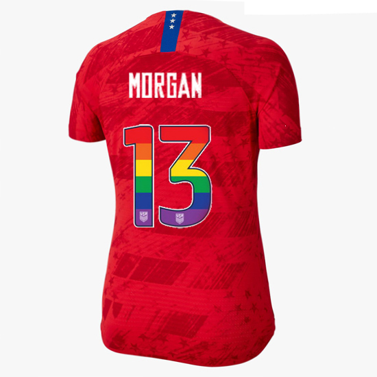 2019/20 USA Red Alex Morgan Women's Jersey Rainbow Numbers