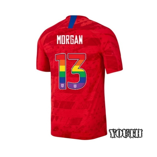 2019/20 USA Red Alex Morgan Youth Jersey Rainbow Numbers