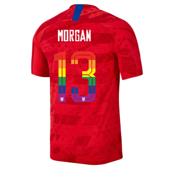 2019/20 USA Red Alex Morgan Men's Soccer Jersey PRIDE