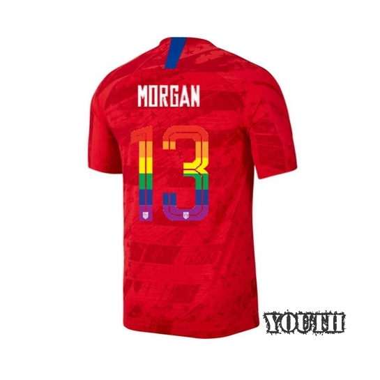 2019/20 USA Red Alex Morgan Youth Soccer Jersey PRIDE