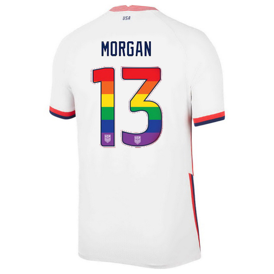 2020/21 USA White Alex Morgan Men's Jersey Rainbow Numbers