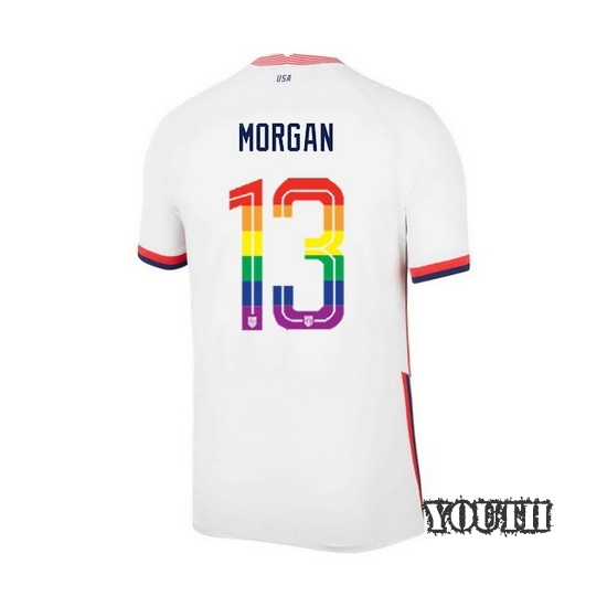 2020/21 USA White Alex Morgan Youth Soccer Jersey PRIDE