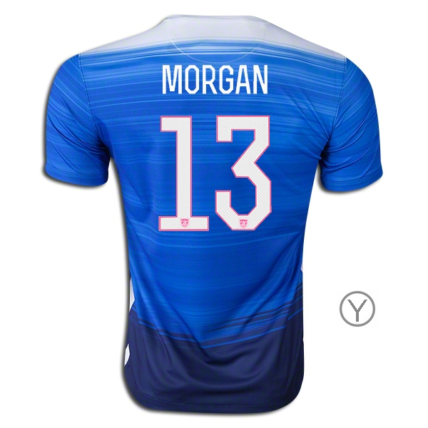 2015/16 Alex Morgan Away Youth Soccer Jersey #13 USA Team - Click Image to Close
