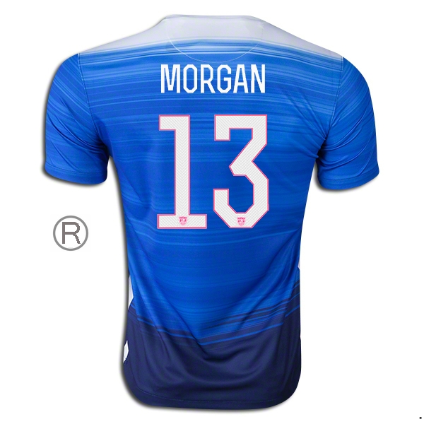 2015/16 Alex Morgan Away Replica Men's Soccer Jersey #13 USA