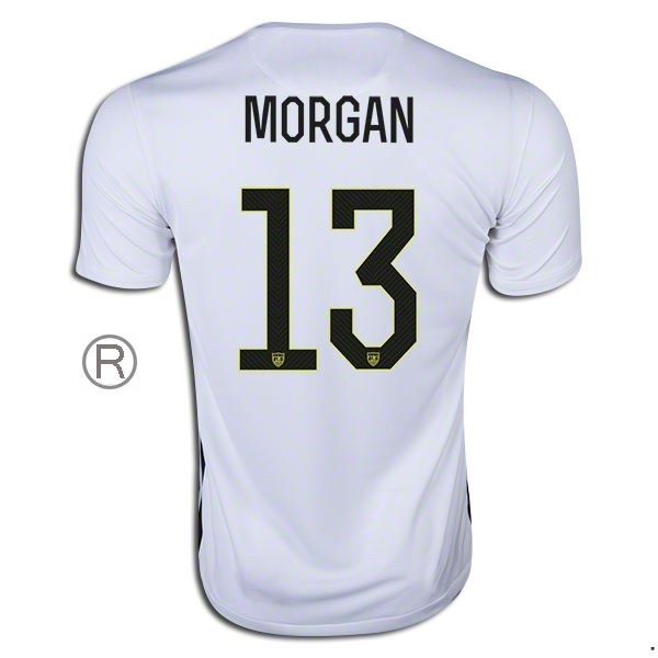 2015/16 Alex Morgan Home Replica Men's Soccer Jersey #13 USA