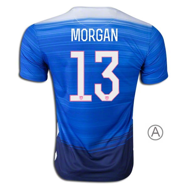 2015/16 Alex Morgan Away Men's Authentic Soccer Jersey #13 USA