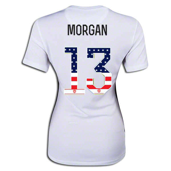 2015/16 Alex Morgan Home Women's 3-Star Jersey #13 USA Independence Day
