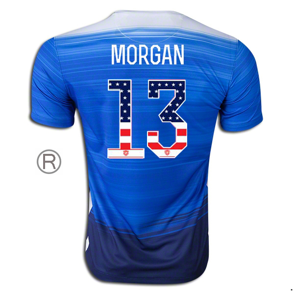 2015/16 Alex Morgan Away Replica Men's Jersey #13 USA Independence Day