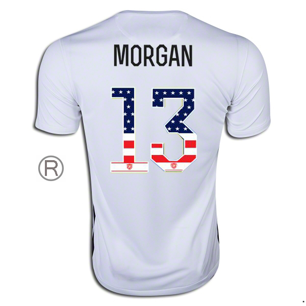 2015/16 Alex Morgan Home Replica Men's Jersey #13 USA Independence Day
