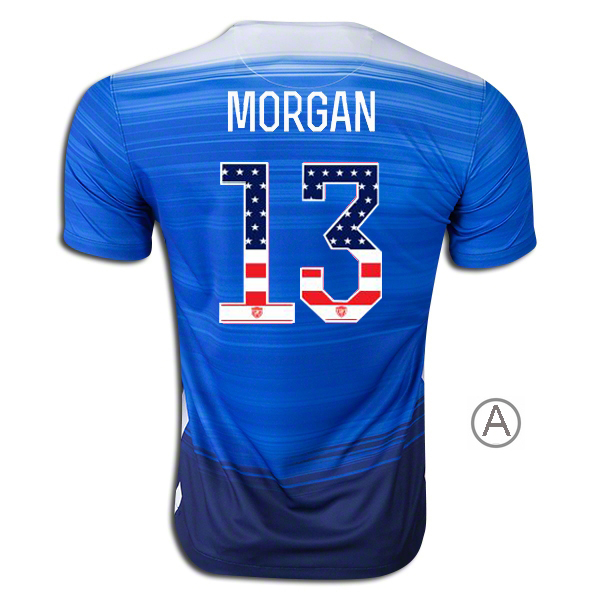 2015/16 Alex Morgan Away Men's Authentic Jersey #13 USA Independence Day