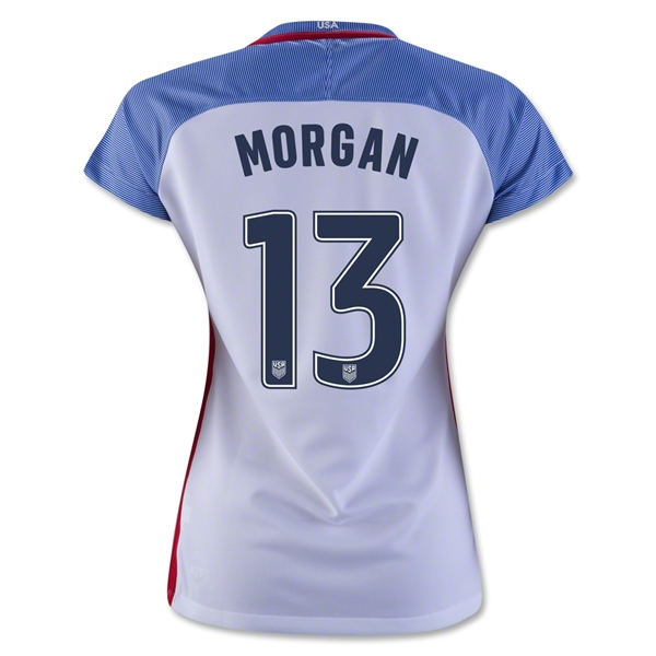2016/17 Alex Morgan Home 3-Star Soccer Women's Jersey #13 USA - Click Image to Close