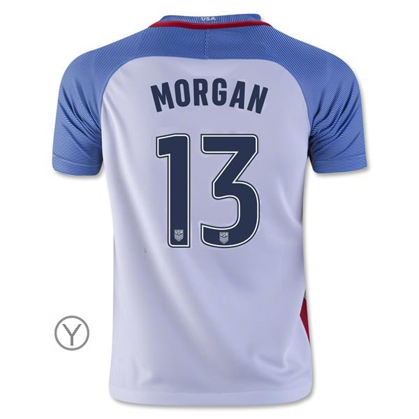 2016/17 Alex Morgan Home Youth Soccer Jersey #13 USA Team - Click Image to Close