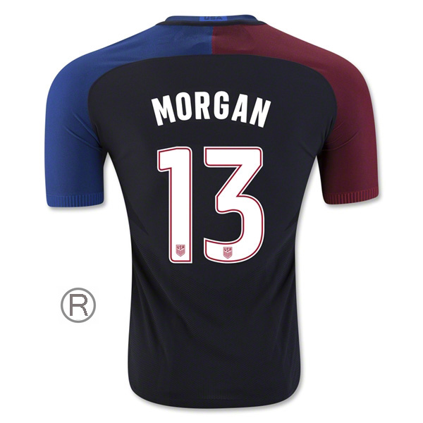 2016/17 Alex Morgan Away Replica Men's Soccer Jersey #13 USA