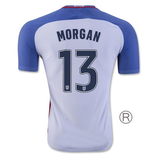 2016/17 Alex Morgan Home Replica Men's Soccer Jersey #13 USA