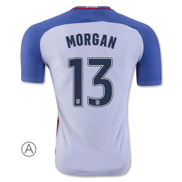 2016/17 Alex Morgan Home Men's Authentic Soccer Jersey #13 USA - Click Image to Close